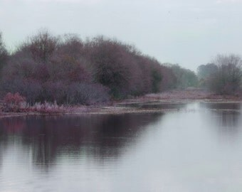 Misty Island Dreamy purple photograph Wetlands,Purple wall decor