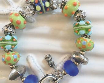 Lime Green and Orange  Lampwork Beaded Bracelet 8 Inches