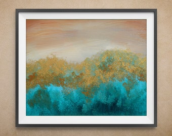 Digital Art Print, Teal Trees, Teal and Gold, Multiple Sizes Available