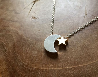 Moon and Star - necklace. goldtone, silvertone, trend, hipster, modern, minimal, fahion, moon, star, crescent moon, night