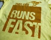 "GIRL RUNNING FITTED T-shirt ""Runs Fast"" Short Sleeve Screen Printed Yellow Cotton Tee"