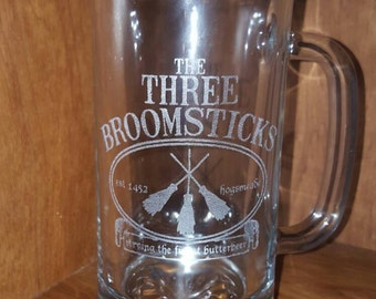 Laser Engraved Harry Potter Inspired Three Broomsticks Butterbeer Beer Mug ~ Gifts for Him ~ Gifts for Her