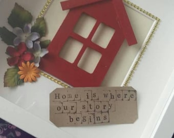 Home is where our story begins decorative box frame