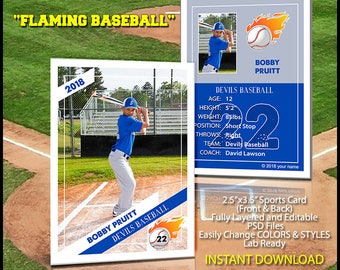 Baseball Sports Trader Card Template For Photoshop SPRING - Baseball card template photoshop