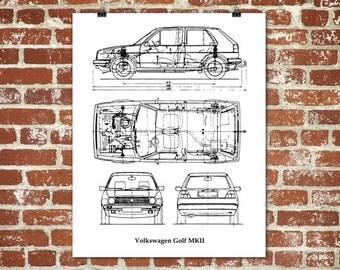 """Volkswagen Golf Blueprint, VW Golf, Golf MK2, VW Golf Decor, Instant Download, Blueprint Art, VW Golf Poster, 8x10"""", 11x14"""", 16x20"""""""