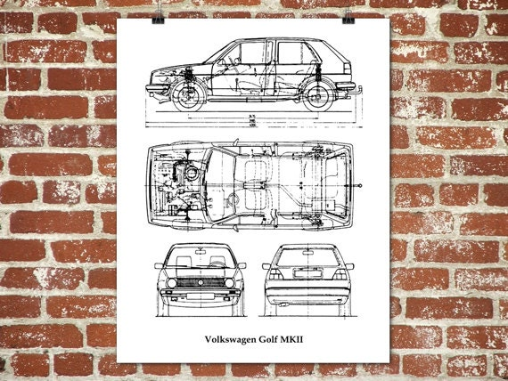 Volkswagen golf blueprint vw golf golf mk2 vw golf decor volkswagen golf blueprint vw golf golf mk2 vw golf decor instant download blueprint art vw golf poster 8x10 11x14 16x20 malvernweather Image collections