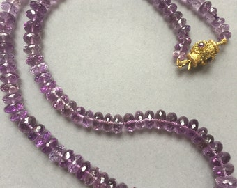 Amazing Faceted Cut Amethyst Beads Necklace with Victorian Clasp