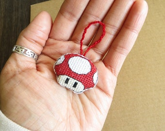 Red Mario Mushroom Toadstool Charm for Key chains, rear view mirrors, Bags, Backpacks, Purses, and/or Zippers