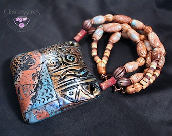 African jewelry / African pendant / Ethnic pendant / Tribal pendant / Beaded necklace / Polymer clay pendant