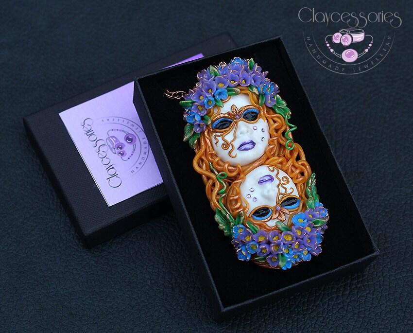 Gemini pendant / Gemini necklace / Zodiac pendant / Gemini gift / Gemini zodiac / Horoscope pendant / Gemini jewelry / Polymer clay pendant