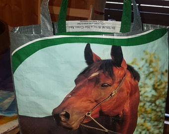 Recycled horse Feed sack w/a with a green fabric liner inside turned into a purse/bag/tote/shopping bag