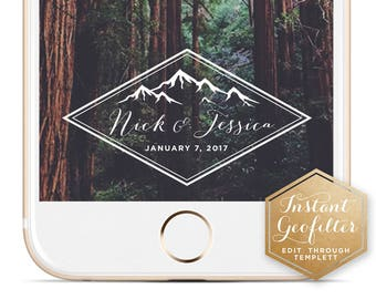 Mountain Wedding Snapchat Geofilter | Custom Geofilter | Birthday Geofilter | Bridal Shower Geofilter | Instant Geofilter