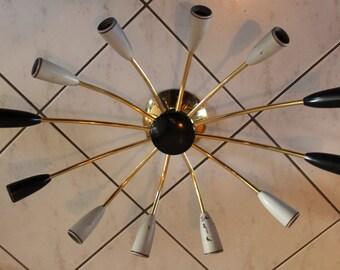 50s Big SPIDER shape 12-arms Atomic Lamp Pendant Stilnovo Mategot Sarfatti Kalmar Era Sputnik Mid Century Modern Design Art Deco 1950s