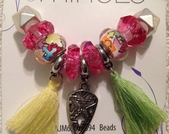 Cousin 11 piece Mix and Mingle Glass Metal Lined Beads with Tassel and Metal Charms...Interchangeable with Popular Brand Bracelets..... NEW