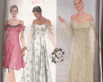 Simplicity 9125 Misses Bride and Bridesmaid Dress, Sizes HH (6-8-10-12) and RR (14--16-18-20),  Circa 2000