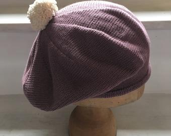 Purple Cotton Beret, Knitted Tam, Pompom Trim Beret, Lilac Tam, Vegan Beret, Mauve Cotton Hat, Scottish Style Tam, Gift for Women