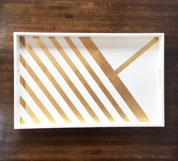 Large Gold Coffee Table Tray: Large White Tray With Gold Leaf Stripes Decorative Tray