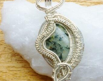 Wire wrapped prehnite pendant