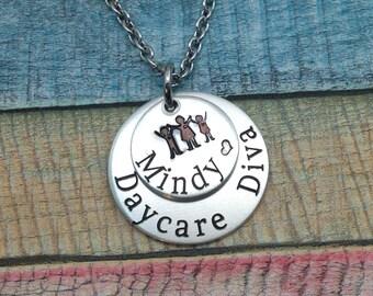 DayCare Teacher Gift, DayCare Teacher Jewelry, Childcare Gift, Gift For DayCare Teacher, Daycare Diva Necklace, daycare Provider Gift