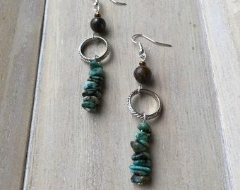 Boho style long dangle earrings, African Turquoise, Bronzite
