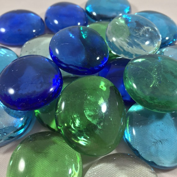 Clear Colored Marbles : Pound jumbo flat marbles mix inch beautiful glass