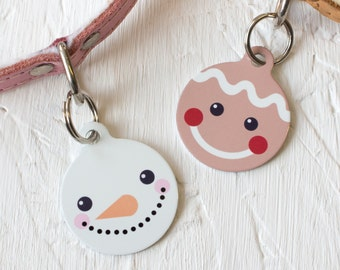 Christmas Friends Pet Id Tag – personalised snowman gingerbread man name tag – gifts for dogs – personalized dog ID tag - P148