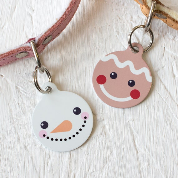 Christmas Friends Pet Id Tag personalised snowman