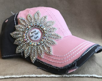 Rhinestone flower Bling pink and grey distressed charm hat