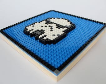 Mosaic Wall Hanging Storm Trooper Built with LEGO Bricks (Kids Room Decor, Pixel Art )