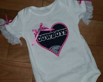 Dallas cowboy onesie etsy custom baby toddlers girls dallas cowboys onesie with heart and bow lace sleeves negle Gallery
