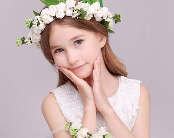 Off White 2 PC/Set Girl Flower Wreath Crown Floral Headband Garland Wristband Wedding