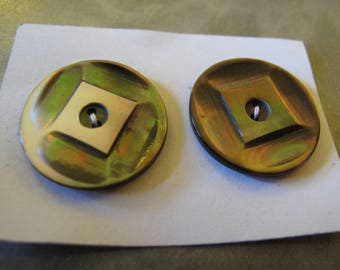 2 carved mother of pearl ART DECO 1920's to 1930 24 mm diameter 210517/7