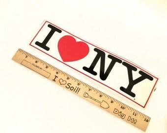 Vintage 1980s I Love NY Bumper Sticker