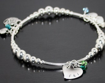 Mothers Day Bracelet Personalized Bracelet Grandchild bracelet mother daughter Mothers Day gift sterling silver personalized heart bracelet