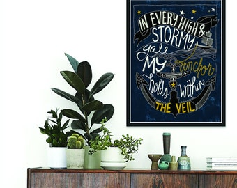 Inspirational Quote, Instant Download, wall art, words of hymn by Edward Mote, anchor illustrated,