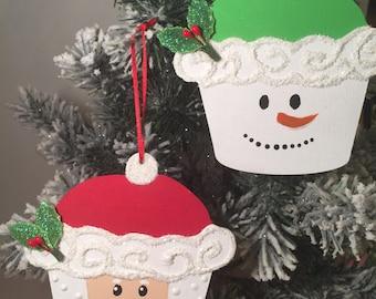 Set of two. Cupcake Santa and Snowman ornaments.