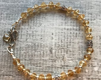 Sterling Silver and Citrine Bracelet with Sterling Bali accent beads