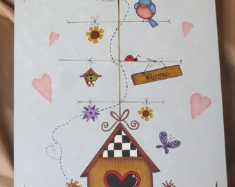 Hand painted laser cut plaque with birdhouse, Welcome sign, bluebird, flowers and hearts