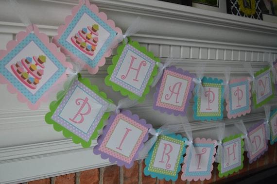 cupcake birthday banner cupcake party cupcake shower cupcake