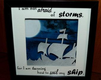 Beautiful, handmade 'Sail stormy seas' frame