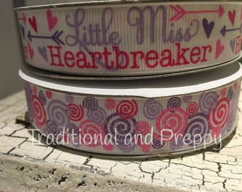 "7/8"" Little Miss Heartbreaker Valentine glitter grosgrain or silly swirly"