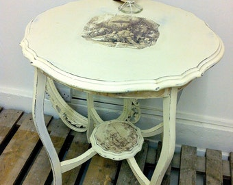 Small Side End Table Round Painted Chinoiserie Occasional Solid Oak