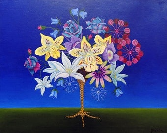 Original Oil Painting Surreal Still Live Flowers 28.3 x 23.6 inch