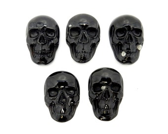 Skull Shaped Black Onyx Cabochon - (RK78B17-03)