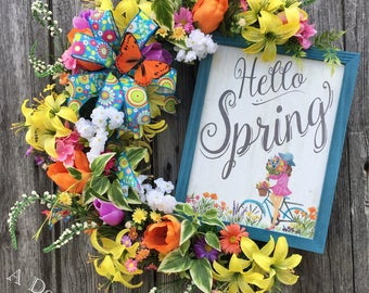 Mother's Day, Spring Wreath, Spring Grapevine Wreath, Floral Wreath, Spring Decor, Springtime Wreath, Hello Spring