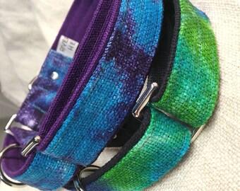 "HeMP Martingale Dog Collar Martingale Tie Dye Dog Collar Wide Dog Collar HeMP 5/8"" 3/4"" 1"" Quick Release Adjustable Dog Collar"