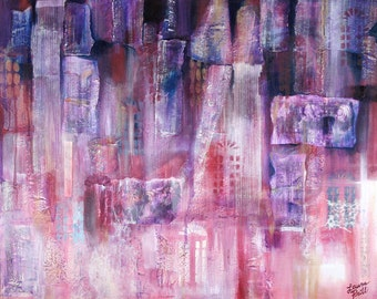 Purple Abstract Painting- Doors- Mixed Media Canvas- 24x30- Ready To Hang
