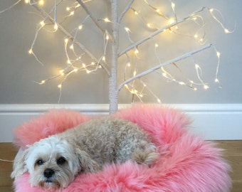 Dog bed , genuine sheepskin liner , luxury for your pet . Pet bed , liner .rose pink,