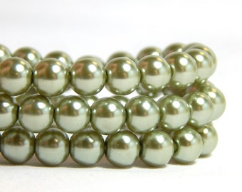 6mm Light Green Glass Pearls, 6mm Green Beads, Sage Green Beads, Sage Green Pearls, Forest Green Glass Pearls, Light Green Pearls, T-95D