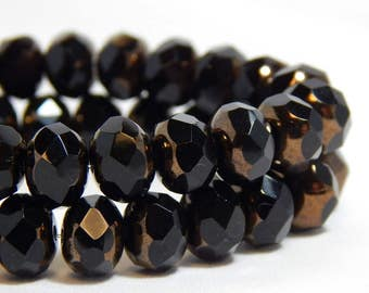 8x6mm Dark Brown Czech Beads, Brown Beads, Shiny Chocolate Brown Beads, Brown Glass Beads, Brown Rondelle Beads, Faceted Beads T-68B